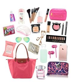 """Whats in my purse?"" by elizabethnutt ❤ liked on Polyvore featuring Moschino, NARS Cosmetics, Longchamp, MAC Cosmetics, Tweezerman, NYX, Chanel, Burberry, Forever 21 and Dove"
