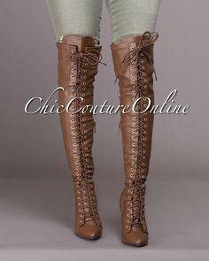Chic Couture Online - Forward Edge Tan Knee High Lace-up Boots.(http://www.chiccoutureonline.com/forward-edge-tan-knee-high-lace-up-boots/)