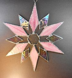 Beautiful Pink And Iridescent Snowflake Stained by jacquiesummer