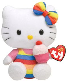 Ty Beanie Baby. Rainbow Hello Kitty enjoying a cupcake. Just bought at on
