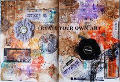 Create Your Own Art | recycling art journal spread by Janka