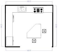 15X15 Kitchen Layout with Island Brilliant Kitchen Floor Plans