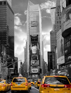 Yellow Cabs on Times Square South picking up passengers to drive them around Manhattan. Made in popular technique - Black and White with splash of color. Will make a great addition to your home or ...