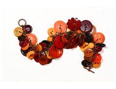 Vintage button charm bracelet orange yellow by FriendlyWrenJewelry