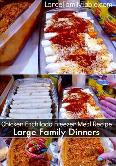 A Chicken Enchilada Freezer Meal Recipe that is perfect for a large family! Check out this easy freezer friendly meal recipe! The flavor is very satisfying in this family style meal. Cooking On A Budget, Freezer Cooking, Freezer Meals, Real Cooking, Freezer Chicken, Cooking Food, Crockpot Meals, Cooking Recipes, Easy Baked Chicken