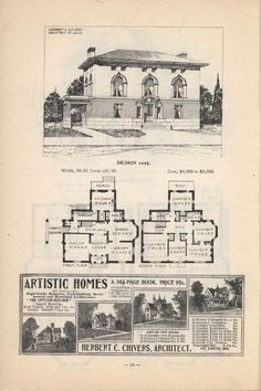 Good looking plan from Artistic city houses, no. 43. Notes to self: Replace cold kitchen storage with powder room. Extend porte cochere. Add Master bath upstairs. #Vintage #Houseplan