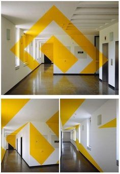 For the entrance perhaps Artist Felice Varini creates breathtaking anamorphic illusions. Environmental Graphics, Environmental Design, Interior Paint Colors, Interior Design, Interior Painting, Flur Design, Design Design, Design Ideas, Signage Design