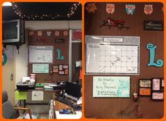 Inspired by pinterest. Dry erase Owl canvas, calendar, scrapbook paper, cardinal, owl ornament, mirror and orange frame from Hobby Lobby. Black frames from Walmart.  My teacher Command Center