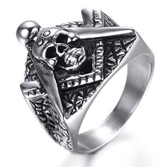 HAMANY Jewelry Mens Stainless Steel Skull Freemason Masonic Ring,Silver Black