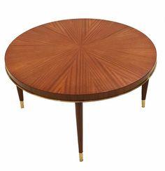 Josef De Coene Round Cocktail Table In Mahogany  Art Deco, MidCentury Modern, Modern, Traditional, Metal, Wood, Coffee  Cocktail Table by Studio Van Den Akker