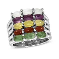 Multi-Color Jade Stack Ring in Sterling Silver