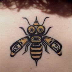 Cool bee tattoo
