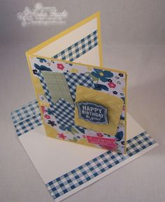 Birthday Card, Label Love, Gingham & Flowers, Stampin' Up! Sneak Peek  www.stampingcountry.com Where Creativity Blooms