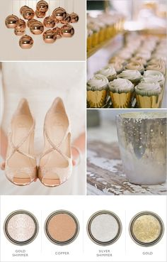 metallic color palette, reminded me of you @Kristen Rexrode :)  (add some chocolate ... custom wrappers/10 colors (diy only $7) www.customweddingprintables.com)