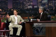 Actor <a gi-track='captionPersonalityLinkClicked' href=/galleries/search?phrase=David+Duchovny&family=editorial&specificpeople=201628 ng-click='$event.stopPropagation()'>David Duchovny</a> during an interview with host <a gi-track='captionPersonalityLinkClicked' href=/galleries/search?phrase=Jay+Leno+-+Television+Host&family=editorial&specificpeople=156431 ng-click='$event.stopPropagation()'>Jay Leno</a> on March 23, 2000 --