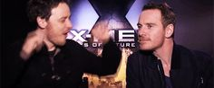 Michael Fassbender and James McAvoy gif