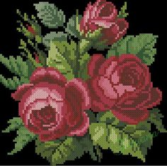 This Pin was discovered by Neş Cross Stitch Rose, Beaded Cross Stitch, Cross Stitch Flowers, Cross Stitch Charts, Cross Stitch Patterns, Rose Embroidery, Cross Stitch Embroidery, Christmas Cross, Needlework