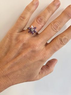 Feminine Piece Featuring Glittering Purple Stones Perched In a Beautiful Sterling Silver Setting Just Perfect  Would Pair Perfectly With Many Items In My Shop, Including the Bracelet Previewed Here in The Photos Please Have a Look Through The Various Sections!  Sterling Silver Size