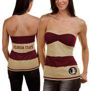 Florida State Seminoles (FSU) Ladies Garnet-Cream Striped Rebound Tube Top