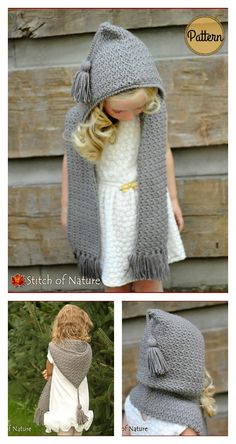 The Elwood Hooded Scarf Crochet PatternYou can find Hooded scarf and more on our website.The Elwood Hooded Scarf Crochet Pattern Crochet Kids Scarf, Crochet Hooded Scarf, Crochet Scarves, Crochet For Kids, Crochet Shawl, Hooded Cowl, Crochet Children, Easy Crochet, Free Crochet
