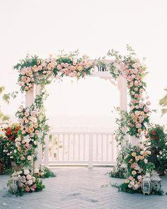 30 Bright Ideas Of Wedding Ceremony Decorations ❤ wedding ceremony decorations pink flower greenery arch aliciaminkphoto #weddingforward #wedding #bride