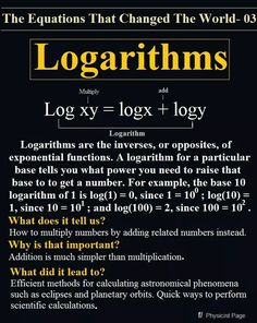 Interesting diagram covering logarithms and how they work. Good for Algebra 2 or even students and teachers in Precalculus. Theoretical Physics, Physics And Mathematics, Math Notes, Precalculus, Math Courses, Math Formulas, Love Math, Teaching Math, Algebra 2