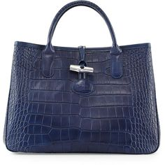 """LongchampCrocodile-Embossed Small Tote Bag, NavyDetailsLongchamp crocodile-embossed calfskin tote bag. Rolled top handles; 3 3/4"""" drop. Open top with center sn…"""