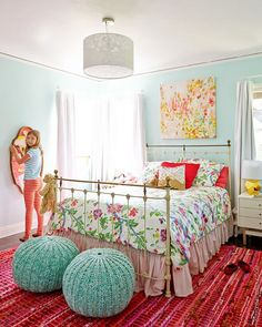 My 10 Go-To Paint Colors - Color scheme for bedroom: aqua, red, white, with hits of gold, pink, green. Wall color is Quartz Stone by Benjamin moore.