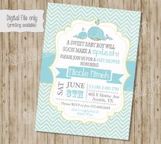 Whale Shower Invitation Whale Baby Shower by SweetBeeDesignShoppe, $12.00