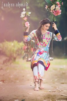 ayeza khan beautiful photoshoot for a lawn brand Fashion 2017, Girl Fashion, Classy Fashion, Fancy Dress Design, Pakistani Dresses Online, Modest Fashion Hijab, Ayeza Khan, Mahira Khan, Pakistani Actress