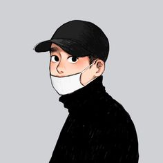 "บาเรีย on Instagram: ""O🖤O"" Exo Cartoon, Dope Cartoon Art, Cartoon Art Styles, Kyungsoo, Kawaii Drawings, Cute Drawings, Exo Anime, Exo Fan Art, Kpop Fanart"