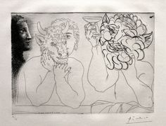 Pablo Picasso, Man with a bullmask a faun , and women's profile