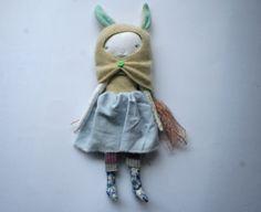 """sweeeeeet animal hood pixie little lu doll 12"""" - pale rainbow, cream angora hood, ice blue, sky blue, pale blue skirt, waldorf doll"""