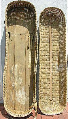 Antique Casket Wicker Basket Coffin Interior has Wood Floor, Edwardian or Victorian.