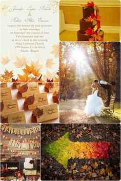 Fall 2014 Wedding Ideas, Fall leaves wedding invitations cards