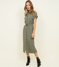 Shop Khaki Button Through Midi Shirt Dress. Discover the latest trends at New Look. Khaki Shirt Dress, Midi Shirt Dress, New Dress, New Look, Latest Trends, Buttons, Shirts, Clothes, Shopping