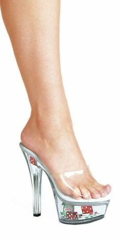 Ellie Shoes E-601-Poker 6 Heel Clear Mule With Dice & Poker Chips. 7 Clear  #EllieShoes #Apparel