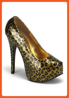 Women's 5 3/4 Inch Heel Glitter Pat With Concealed Platform (Gold Cheetah Glitter;10) - Pumps for women (*Amazon Partner-Link)