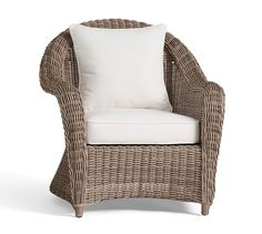 Larger Pixel Photo Torrey All Weather Wicker Roll Arm Occasional Chair    Natural | Pottery