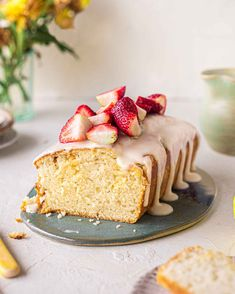 Vegan Baking Recipes, Vegan Dessert Recipes, Almond Recipes, Desert Recipes, Cake Recipes, Vegan Lemon Drizzle Cake, Vegan Cake, Vegan Food, Vegan Treats