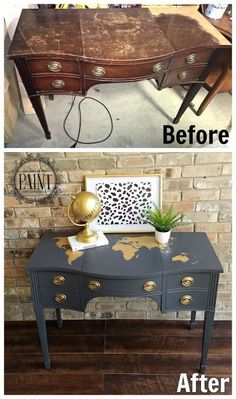 Love of the Paint: FULL TUTORIAL : Vintage Desk / Vanity makeover with World. -For Love of the Paint: FULL TUTORIAL : Vintage Desk / Vanity makeover with World. - Grey & Gold before/after How to remove veneer from furniture without losing you rmind! Refurbished Furniture, Repurposed Furniture, Vintage Furniture, Trendy Furniture, Office Furniture, Cheap Furniture, Garden Furniture, Vintage Desks, Classic Furniture