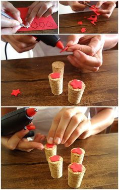 basteln mit weinkorken, stempel aus korken und schwammstoff tinker with wine cork, stamp from cork and sponge Image Size: 700 x 1119 Source Cork Crafts, Diy Arts And Crafts, Crafts To Do, Crafts For Kids, Paper Crafts, Fabric Stamping, Handmade Stamps, Stamp Making, Fabric Painting