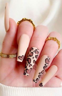 Best Acrylic Nails, Acrylic Nail Designs, Leopard Nail Designs, Stylish Nails, Trendy Nails, Heart Nail Designs, Dope Nail Designs, Brown Nail Designs, May Nails