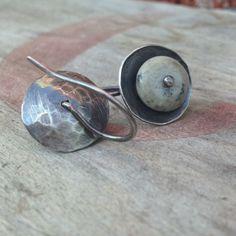 Simple Hammered Silver Jasper Earrings by jenjems on Etsy, $28.00