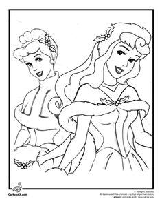Disney Princesses Christmas Coloring Page