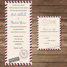 Printable Air Mail Wedding Invitation with RSVP by BeyondDigital