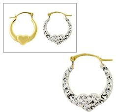 10KT Gold Hoops with Crystal Heart -- You can get more details by clicking on the image.(This is an Amazon affiliate link and I receive a commission for the sales)