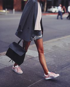I obviously have this thing for pink kicks  // #adidas #gazelle, #ganbi blazer, #motherdenim skirt