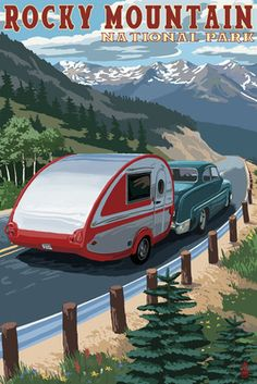 Rocky Mountain National Park - Retro Camper - Lantern Press Poster