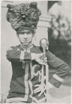 Rice Institute Band leader wearing owl hat, 1925